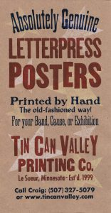 Tin Can Valley Printing Company - Self-promotion poster