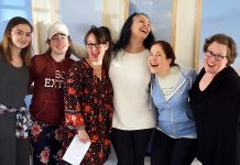 Photo by Don Lipps - Pay What You Can Acting Class participants (from left to right) Isabella Owens, Cadence Smith, Jill Fischer, Michelle Parsneau, and Christi Smith join instructor Amanda Joy Hauman for a time of learning and fun!