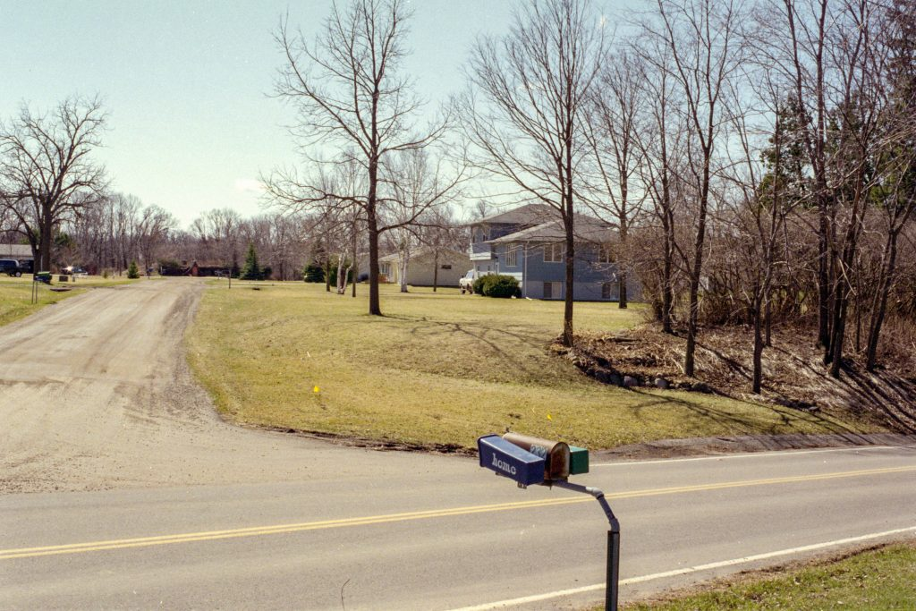 Photo by Rick Pepper - Mankato, MN - April 25, 2000 looking south down Ivy Lane, Roger Huettl's (former) house on the right.