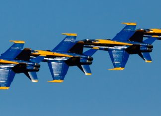 Photo by Rick Pepper - 2012 Mankato Air Show - The Blue Angels flying in the Echelon formation