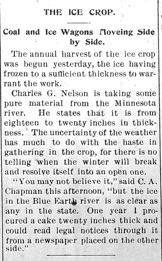 Submitted Image - Clip from the Free Press, January 9, 1895 reporting on the ice harvest.