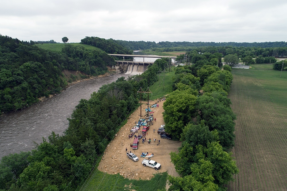 Photo by Jason Smith - Aerial Imagery Media- Drone shot of Annual Adopt-a-River attendees and the Rapidan Dam