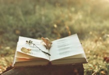 Book of poetry outdoors