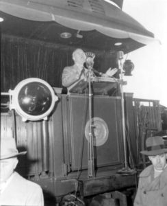 Photo courtesy The Heritage of Blue Earth County, Minnesota by Julie A. Schrader - President Harry Truman speaking in Mankato from a railroad car in 1948