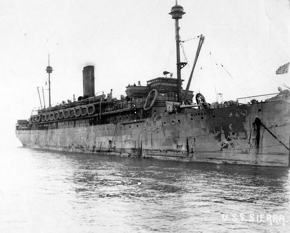 Photo from Wikimedia Commons - U.S. World War I transport ship, USS Sierra
