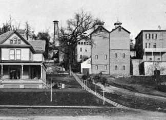 Photo from the Standard Historical and Pictorial Atlas and Gazetteer of Blue Earth County, MN, 1895 - The Bierbauer Brewery stood at the end of Rock Street in Mankato for many years. The brewery buildings are now gone. Albert and Lillie Bierbauer's house, which is pictured on the left, still remains on the corner of 6th and Rock Streets. This photo was taken in 1895 and at the time the brewery was producing 18,000 barrels annually.