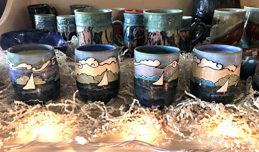 Photo by Julie Johnson Fahrforth - Wine mugs especially designed for The Blue Boat by Melissa Werpy