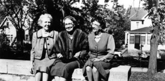 """Photo from The Mankato Free Press - The Immortal Trio - L-R: Frances Kenney Kirch (Tacy), Maud Hart Lovelace (Betsy), and Marjorie Gerlach Harris (Tib). This photograph was taken outside Lincoln School (now Lincoln Community Center) in October 1961 when the three attended """"Betsy-Tacy Days"""" in Mankato."""